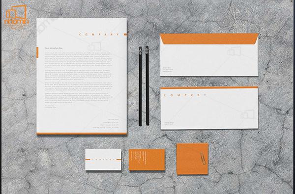 Mẫu thiết kế ấn phẩm văn phòng ấn tượng với tông màu cam trắng