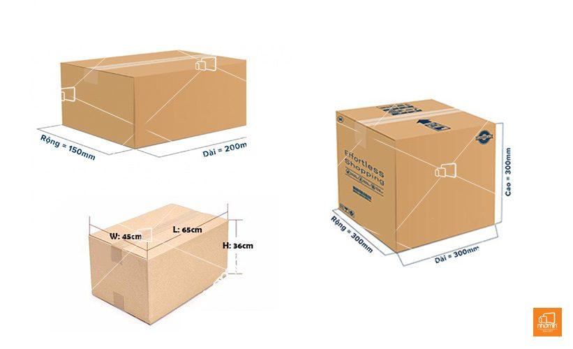 kích thước thùng carton phổ biến