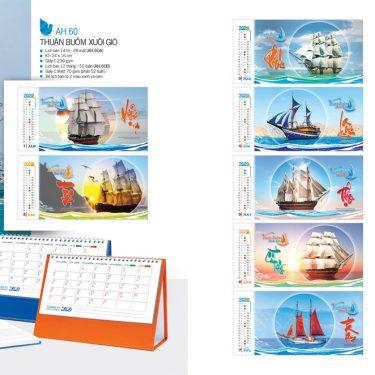 Mẫu lịch để bàn AH 2020 - Thuận buồm xuôi gió