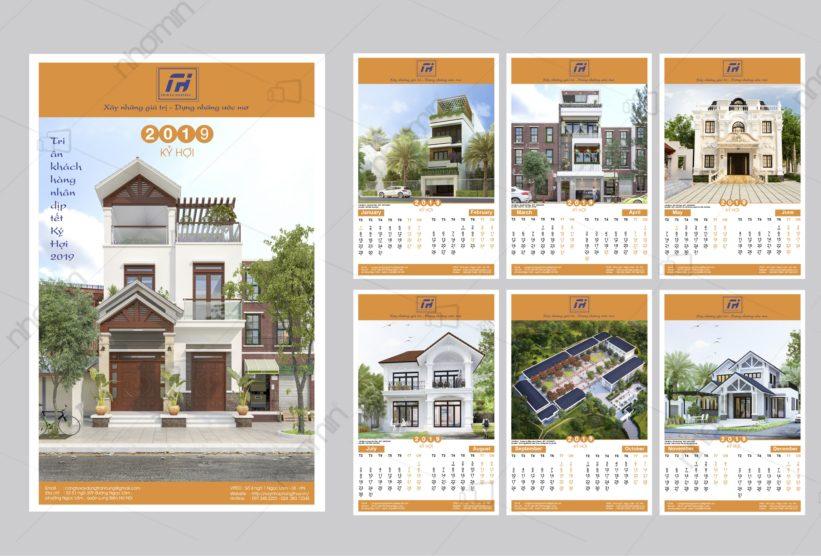 mẫu lịch tết kiến trúc